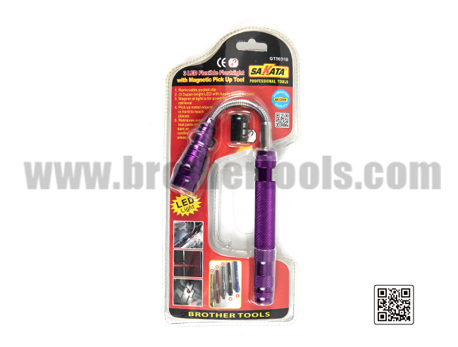 3 LED Flexible Flashight   with Magnetic Pick Up Tool