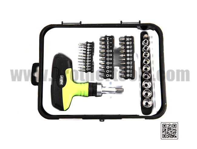 Hand Tool Kit with Plastic Toolbox Storage Case